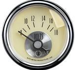 """Autometer Gauge, Voltmeter, 2 1/16"""", 18V, Elec, Prestige Antq. Ivory 2092"""