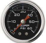 "Autometer Gauge, Pressure, 1.5"" direct mnt, 60psi, Liquid Filled Mech, Blk, 1/8"" NPTF Male 2173"