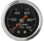 "Autometer Gauge, Pressure, 1.5"" direct mnt, 100psi, Liquid Filled Mech, Blk, 1/8"" NPTF Male 2174"