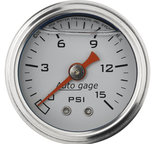 "Autometer Gauge, Pressure, 1.5"" direct mnt, 15psi, Liquid Filled Mech, Wht, 1/8"" NPTF Male 2175"
