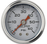 "Autometer Gauge, Pressure, 1.5"" direct mnt, 60psi, Liquid Filled Mech, Wht, 1/8"" NPTF Male 2176"