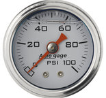 "Autometer Gauge, Pressure, 1.5"" direct mnt, 100psi, Liquid Filled Mech, Wht, 1/8"" NPTF Male 2177"