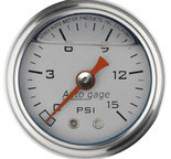 "Autometer Gauge, Pressure, 1.5"" direct mnt, 15psi, Liquid Filled Mech, Slvr, 1/8"" NPTF Male 2178"
