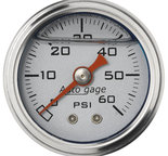 "Autometer Gauge, Pressure, 1.5"" direct mnt, 60psi, Liquid Filled Mech, Slvr, 1/8"" NPTF Male 2179"
