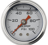 "Autometer Gauge, Pressure, 1.5"" direct mnt, 100psi, Liquid Filled Mech, Slvr, 1/8"" NPTF Male 2180"