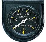 """Autometer Gauge Console, Water Temp, 1.5"""", 280şF, Mech, Blk Dial, Blk Bezel, AutoGage 2352"""