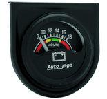 """Autometer Gauge Console, Voltmeter, 1.5"""", 18V, Blk Dial, Blk Bezel, AutoGage 2356"""