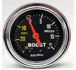 """Autometer Gauge, Vac/Boost, 2 1/16"""", 30inHg-20psi, Mechanical, Traditional Chrome 2401"""