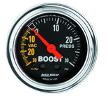 """Autometer Gauge, Vac/Boost, 2 1/16"""", 30inHg-30psi, Mechanical, Traditional Chrome 2403"""