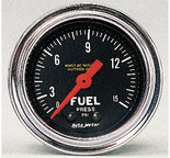 """Autometer Gauge, Fuel Pressure, 2 1/16"""", 15psi, Mechanical, Traditional Chrome 2411"""