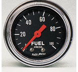 """Autometer Gauge, Fuel Pressure, 2 1/16"""", 100psi, Mechanical, Traditional Chrome 2412"""