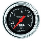 """Autometer Gauge, Fuel Pressure, 2 1/16"""", 15psi, Mech. w/isolator, Traditional Chrome 2413"""