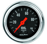 """Autometer Gauge, Oil Pressure, 2 1/16"""", 100psi, Mechanical, Traditional Chrome 2421"""