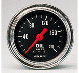 """Autometer Gauge, Oil Pressure, 2 1/16"""", 200psi, Mechanical, Traditional Chrome 2422"""