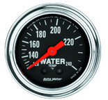 """Autometer Gauge, Water Temp, 2 1/16"""", 120-240şF, Mechanical, 12ft., Traditional Chrome 2433"""
