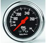 "Autometer Gauge, Oil Temp, 2 1/16"", 140-280şF, Mechanical, Traditional Chrome 2441"