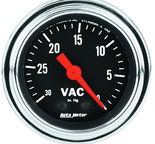 "Autometer Gauge, Vacuum, 2 1/16"", 30inHg, Mechanical, Traditional Chrome 2484"