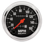 """Autometer Gauge, Speedometer, 3 3/8"""", 160mph, Mechanical, Traditional Chrome 2494"""