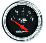 """Autometer Gauge, Fuel Level, 2 1/16"""", 0?E to 90?F, Elec, Traditional Chrome 2514"""