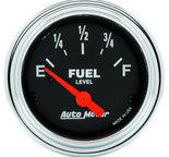 """Autometer Gauge, Fuel Level, 2 1/16"""", 240?E to 33?F, Elec, Traditional Chrome 2516"""