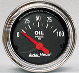 """Autometer Gauge, Oil Pressure, 2 1/16"""", 100psi, Electric, Traditional Chrome 2522"""