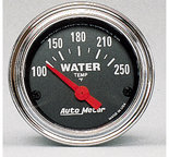"""Autometer Gauge, Water Temp, 2 1/16"""", 100-250şF, Electric, Traditional Chrome 2532"""
