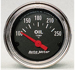"""Autometer Gauge, Oil Temp, 2 1/16"""", 100-250şF, Electric, Traditional Chrome 2542"""