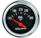 """Autometer Gauge, Oil Temp, 2 1/16"""", 140-300şF, Electric, Traditional Chrome 2543"""