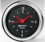 "Autometer Gauge, Clock, 2 1/16"", 12Hr, Analog, Traditional Chrome 2585"