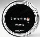 "Autometer Gauge, Hourmeter, 2 1/16"", 100k Hours, Electric (8V-32v), Traditional Chrome 2587"