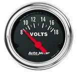 """Autometer Gauge, Voltmeter, 2 1/16"""", 18V, Elec, Traditional Chrome 2592"""