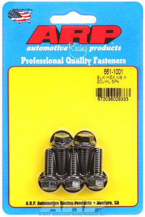 ARP M8 x 1.25 x 20 hex black oxide bolts 6611001