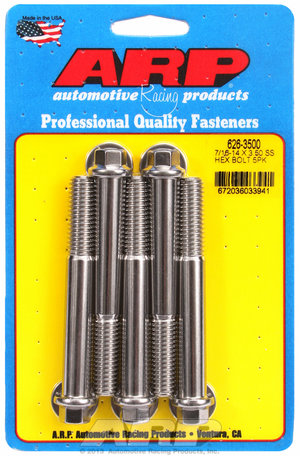 ARP 7/16-14 X 3.500 hex SS bolts 6263500