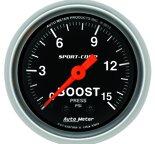"Autometer Gauge, Boost, 2 1/16"", 15psi, Mechanical, Sport-Comp 3302"