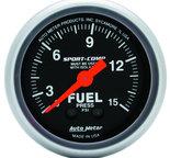 "Autometer Gauge, Fuel Pressure, 2 1/16"", 15psi, Mechanical w/isolator, Sport-Comp 3313"