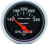 """Autometer Gauge, Cylinder Head Temp, 2 1/16"""", 140-340şF, Electric, Sport-Comp 3336"""