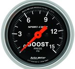 """Autometer Gauge, Boost, 2 1/16"""", 15psi, Digital Stepper Motor, Sport-Comp 3350"""