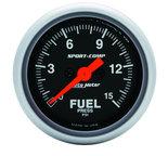 """Autometer Gauge, Fuel Pressure, 2 1/16"""", 15psi, Digital Stepper Motor, Sport-Comp 3361"""