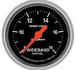 "Autometer Gauge, Air/Fuel Ratio-Wideband, Analog, 2 1/16"", 8:1-18:1, Stepper Motor, Sport-Comp 3370"