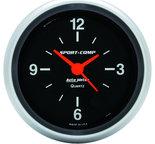 "Autometer Gauge, Clock, 2 5/8"", 12Hr, Analog, Sport-Comp 3585"
