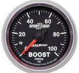 "Autometer Gauge, Boost, 2 1/16"", 100psi, Mechanical, Sport-Comp II 3606"