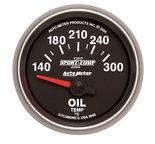 """Autometer Gauge, Oil Temp, 2 1/16"""", 140-300şF, Electric, Sport-Comp II 3648"""