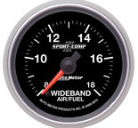 "Autometer Gauge, Air/Fuel Ratio-Wideband, Analog, 2 1/16"", 8:1-18:1, Stepper Motor, Sport-Comp II 3670"