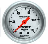 "Autometer Gauge, Boost, 2 1/16"", 15psi, Mechanical, Ultra-Lite 4302"