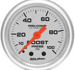 "Autometer Gauge, Boost, 2 1/16"", 100psi, Mechanical, Ultra-Lite 4306"