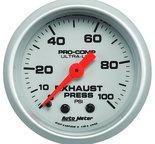 "Autometer Gauge, Exhaust Press, 2 1/16"", 100psi, Mechanical, Ultra-Lite 4326"