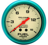 "Autometer Gauge, Fuel Press, 2 5/8"", 15psi, Mech., Glow in the Dark, Ultra-Nite 4511"