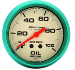 "Autometer Gauge, Oil Press, 2 5/8"", 100psi, Mech., Glow in the Dark, Ultra-Nite 4521"