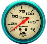 "Autometer Gauge, Oil Press, 2 5/8"", 150psi, Mech., Glow in the Dark, Ultra-Nite 4523"