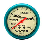 "Autometer Gauge, Water Temp, 2 5/8"", 140-280şF, Mech., Glow in the Dark, Ultra-Nite 4531"